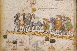 A 14th century representation of the Silk Road.